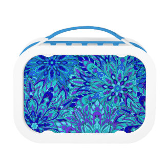 Blue mandala pattern lunch box