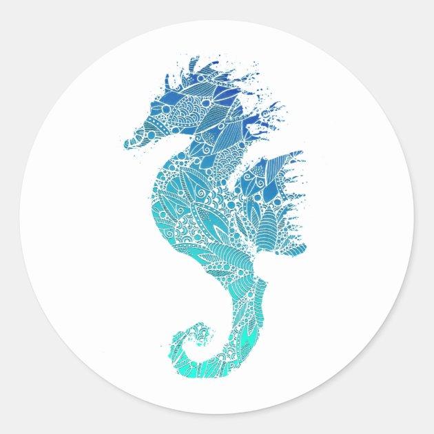 Blue Mandala Pattern Seahorse Classic Round Sticker Zazzle Com