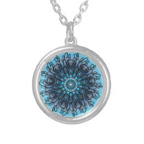 Blue Mandala Silver Plated Necklace