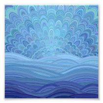 Blue Mandala Sunset at the Ocean Photo Print