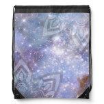 Blue Mandala Universe Zen Drawstring Bag