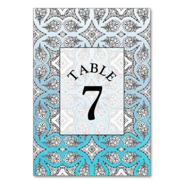 Wedding Themed Blue Mandala Wedding Table Number Card
