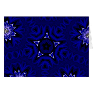 Blue Mandala with Star and Flowers Card