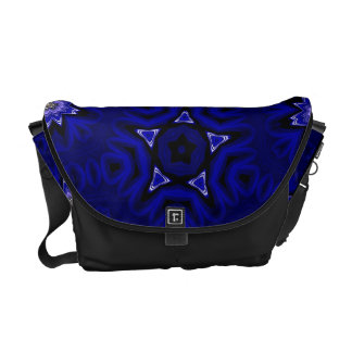 Blue Mandala with Star and Flowers Messenger Bag