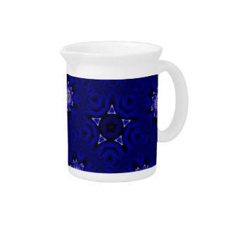Blue Mandala with Star and Flowers Pitcher