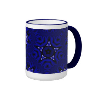 Blue Mandala with Star and Flowers Ringer Mug