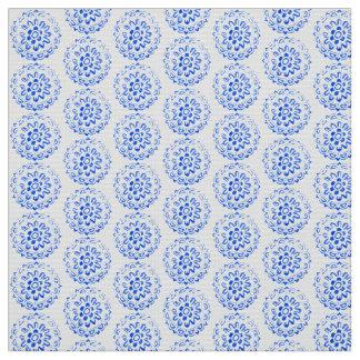 Blue Mandalas Round Flora Motif Plants Design Fabric