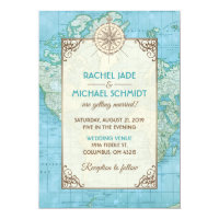 Blue Map Travel Wedding Invitation