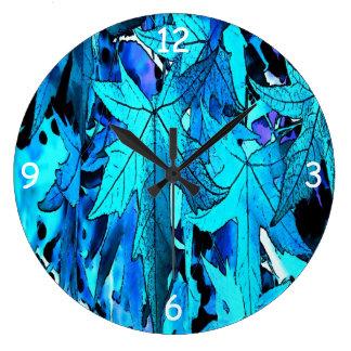 Blue Maple Leaves Wall Clocks