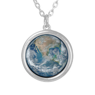 Blue Marble 2015 - Earth, Space, Planets Round Pendant Necklace