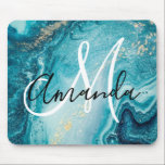 """Blue Marble Abstract Monogram Mouse Pad<br><div class=""""desc"""">Unique blue marble monogram abstract mouse mat. Add your name and initial. Click customize further to edit this template and change font,  color ,  style etc</div>"""
