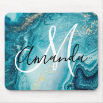 Blue Marble Abstract Monogram Mouse Pad