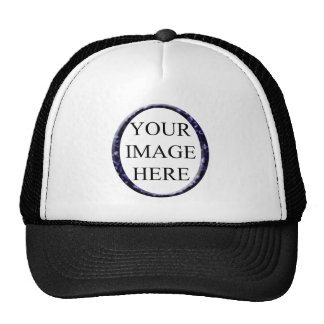 Blue marble circle frame template trucker hat