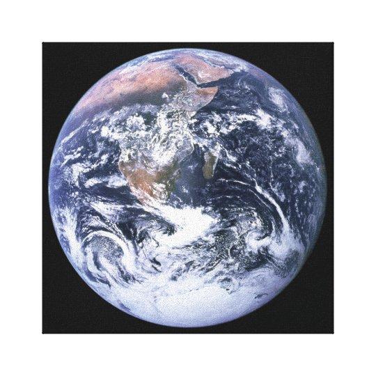 Blue Marble Earth on Black Canvas Print