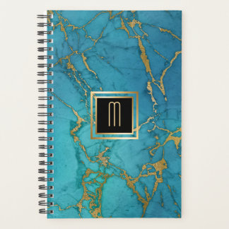 Blue Marble Gold Laced Monogram Planner