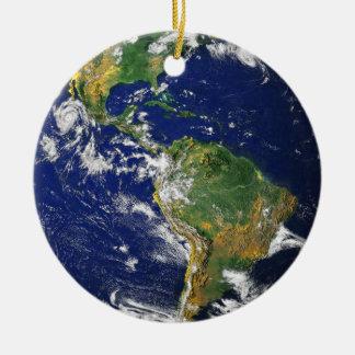 Blue Marble medallion necklace keepsake Double-Sided Ceramic Round Christmas Ornament
