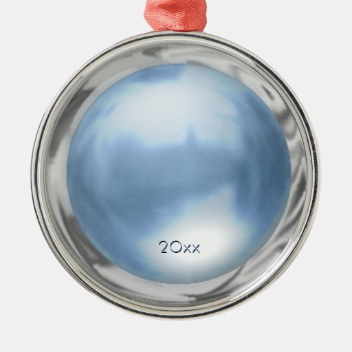 Blue Marble Metallic Effect with custom date Christmas Ornaments