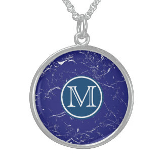 Blue Marble Monogram Sterling Silver Necklace