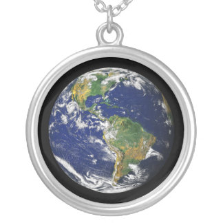 Blue Marble necklace charm pendant