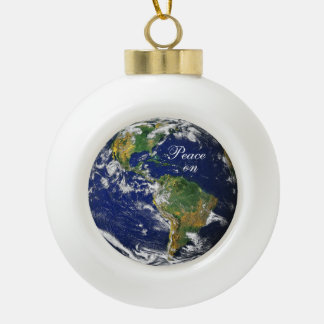 Blue Marble_Peace on Earth Ceramic Ball Christmas Ornament