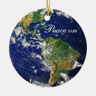 Blue Marble_Peace on Earth_Goodwill to all Double-Sided Ceramic Round Christmas Ornament