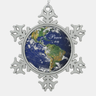Blue Marble_Peace on Earth_Pewter snowflake Ornament