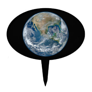 Blue Marble Planet Earth North America Mexico Cake Topper