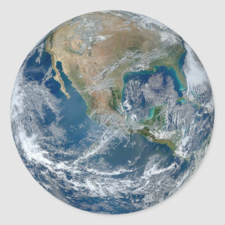 Blue Marble Planet Earth North America Mexico Classic Round Sticker