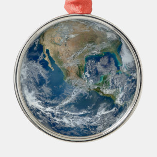Blue Marble Planet Earth North America Mexico Metal Ornament