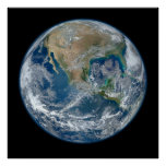 Blue Marble Planet Earth North America Mexico Poster