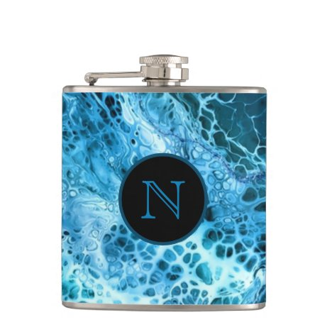 Blue Marble Splash Monogrammed Flask