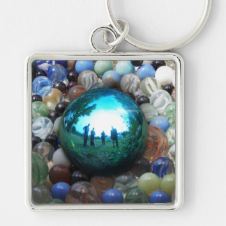 Blue Marble Surreal Reflections Keychain