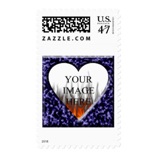 Blue marble template with heart opening postage stamp