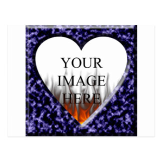 Blue marble template with heart opening postcard