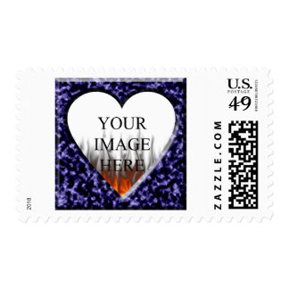 Blue marble template with heart opening stamp
