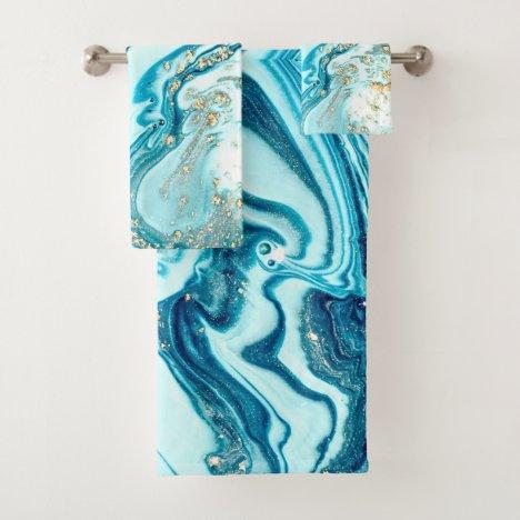 Blue Marble Watercolor Turquoise Gold Ocean Bath Towel Set