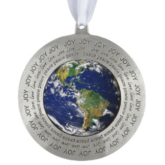 Blue Marble World Peace on Earth Pewter Ornament