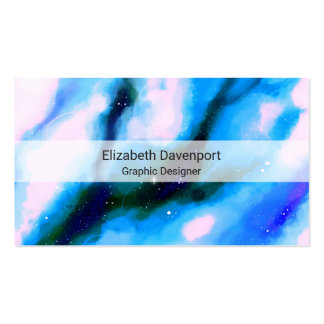 Blue Marbled Outer Space Abstract Background Business Card