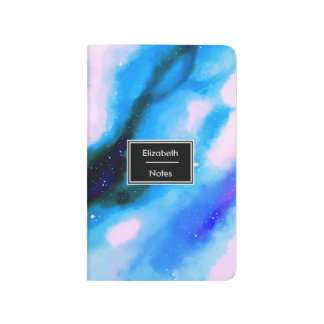 Blue Marbled Outer Space Abstract Background Journal
