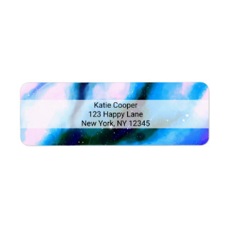 Blue Marbled Outer Space Abstract Background Label