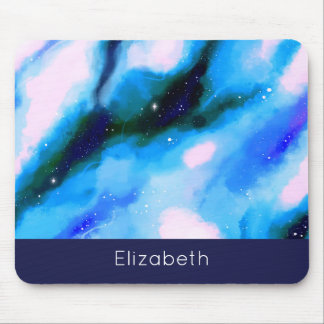 Blue Marbled Outer Space Abstract Background Mouse Pad