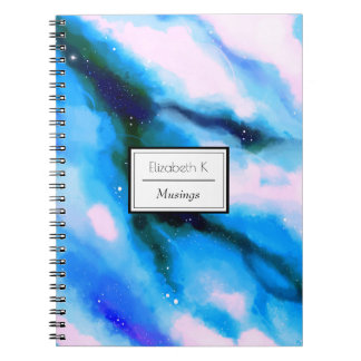 Blue Marbled Outer Space Abstract Background Notebook