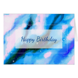 Blue Marbled Outer Space Abstract Happy Birthday Card