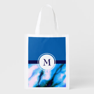 Blue Marbled Outer Space Abstract Monogram Grocery Bags