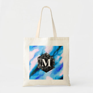 Blue Marbled Outer Space Abstract Monogram Tote Bag
