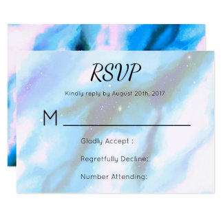 Blue Marbled Outer Space Abstract RSVP Card