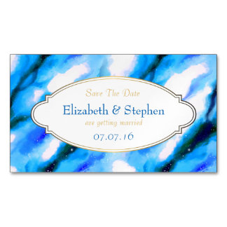 Blue Marbled Outer Space Abstract Save The Date Business Card Magnet