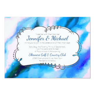 Blue Marbled Outer Space Abstract Wedding Invite