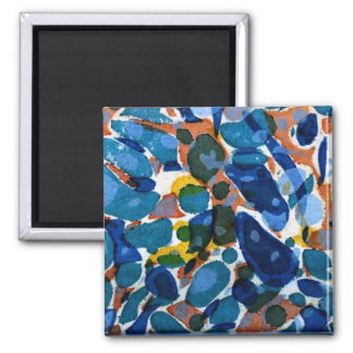 Blue Marbled Paper 2 Inch Square Magnet