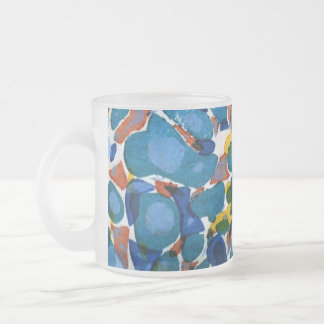 Blue Marbled Paper Frosted Glass Coffee Mug